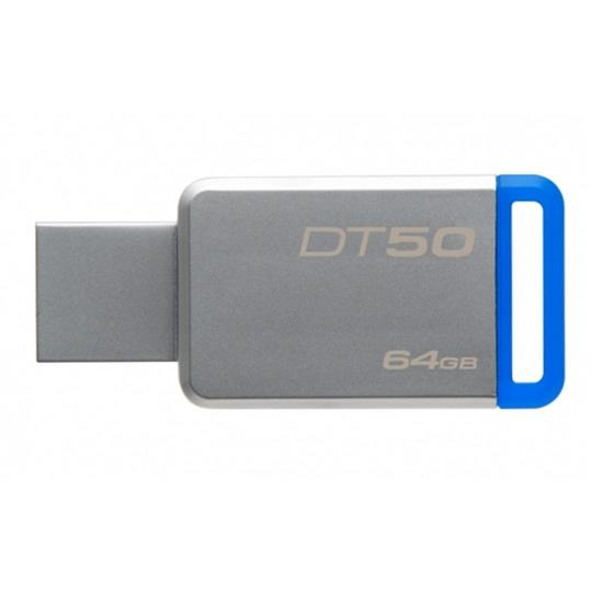 USB 3.0 Flash Drive 64GB Kingston  DataTraveler 50 kovový/modrý